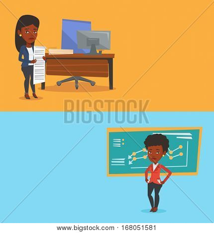Two business banners with space for text. Vector flat design. Horizontal layout. Business woman standing with long bill in hands. Businesswoman holding long bill. Business woman looking at long bill.