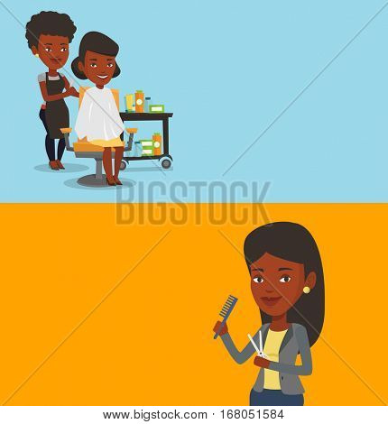 Two beauty banners with space for text. Vector flat design. Horizontal layout. African hairdresser cutting hair of young woman. Professional hairdresser making haircut to a client in beauty saloon.