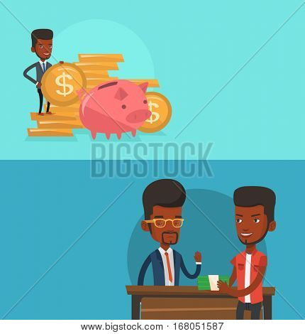 Two business banners with space for text. Vector flat design. Horizontal layout. Businessman putting money in a big piggy bank. Businessman saving his money in a piggy bank. Saving money concept.