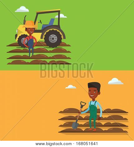 Two agricultural banners with space for text. Vector flat design. Horizontal layout. Farmer standing on background of tractor and plowed field. Caucasian farmer standing with shovel on plowed field.
