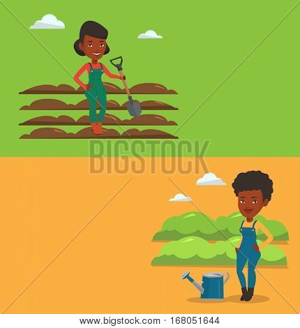 Two agricultural banners with space for text. Vector flat design. Horizontal layout. Farmer standing with shovel on plowed field. Farmer working in field with shovel. Woman plowing field with a shovel