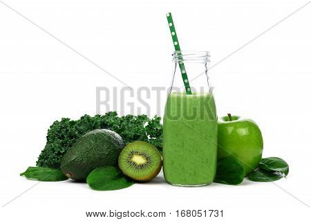 Healthy Green Smoothie In Milk Bottle With Kale, Avocado, Kiwi, Apple, And Spinach Isolated On White