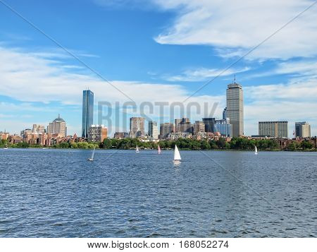 Panoramic view of Boston, MA and Charles river