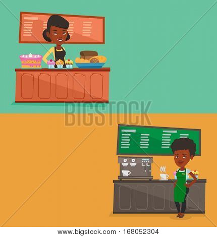Two business banners with space for text. Vector flat design. Horizontal layout. Bakery worker offering pastry. Young bakery worker standing behind the counter with cakes. Woman working at the bakery.