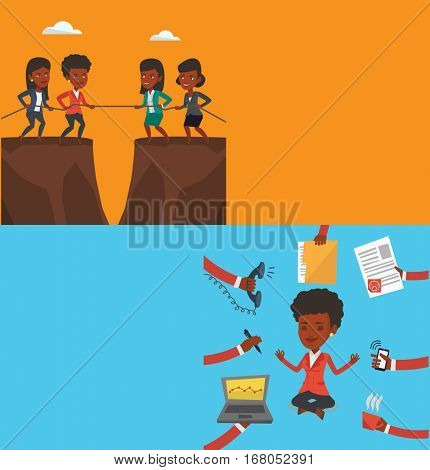 Two business banners with space for text. Vector flat design. Horizontal layout. Two competitive african-american business teams pulling rope on cliff. Competition between two teams of business people