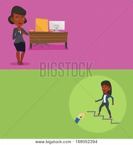 Two business banners with space for text. Vector flat design. Horizontal layout. Employer pointing at time on wrist watch. Boss checking time of coming of latecomer employee. Concept of late to work.