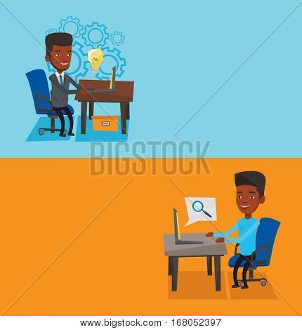 Two business banners with space for text. Vector flat design. Horizontal layout. Businessman working on laptop in office and searching information on internet. Internet search and job search concept.