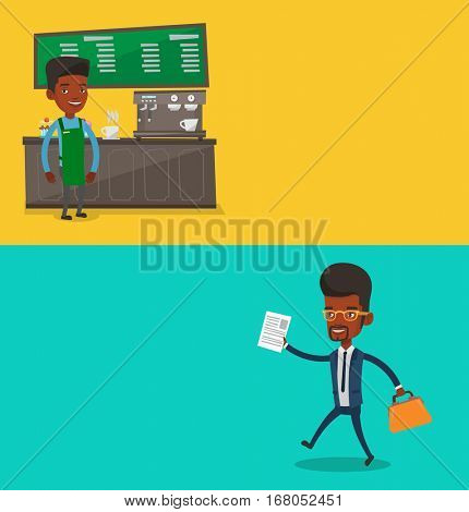 Two business banners with space for text. Vector flat design. Horizontal layout. Barista sanding in front of coffee machine. African barista working at coffee shop. Barista making a cup of coffee.