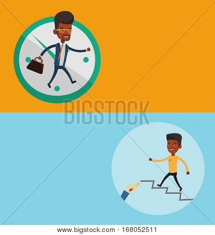Two business banners with space for text. Vector flat design. Horizontal layout. African businessman running up the career ladder. Businessman climbing the career ladder. Concept of business career.