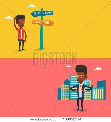 Two business banners with space for text. Vector flat design. Horizontal layout. Businessman opening jacket like superhero. African businessman superhero. Businessman taking off jacket like superhero.