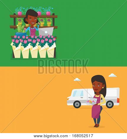 Two business banners with space for text. Vector flat design. Horizontal layout. African owner of flower shop using telephone and laptop to take order. Owner of flower shop standing at the counter.