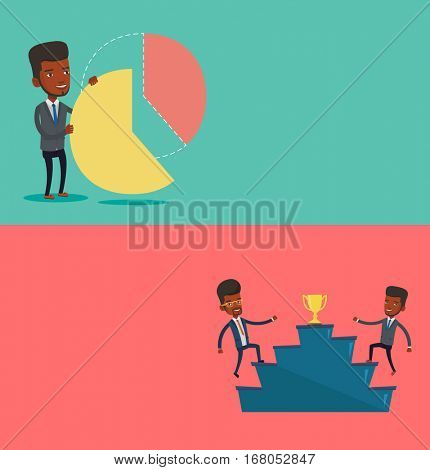 Two business banners with space for text. Vector flat design. Horizontal layout. Businessmen competing to get gold trophy. Ccompetitive men running up for the winner cup. Business competition concept.