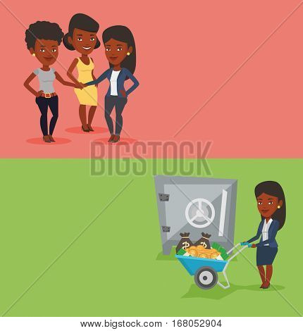 Two business banners with space for text. Vector flat design. Horizontal layout. Business woman depositing money in bank safe. Woman pushing wheelbarrow with money on the background of bank safe.