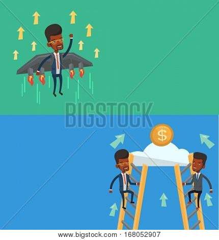 Two business banners with space for text. Vector flat design. Horizontal layout. Businessmen competing for the money. Competitive men climbing the ladder on a cloud. Business competition concept.