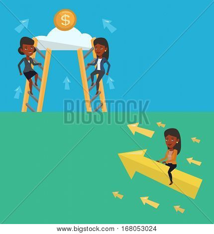 Two business banners with space for text. Vector flat design. Horizontal layout. Businesswoman sitting on arrow going to success. Successful woman flying up on arrow and moving to business success