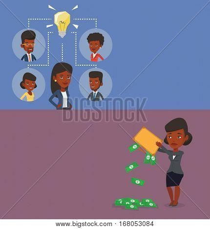 Two business banners with space for text. Vector flat design. Horizontal layout. Caucasian women working on creative idea. Business women discussing idea. Business women connected by one idea bulb.