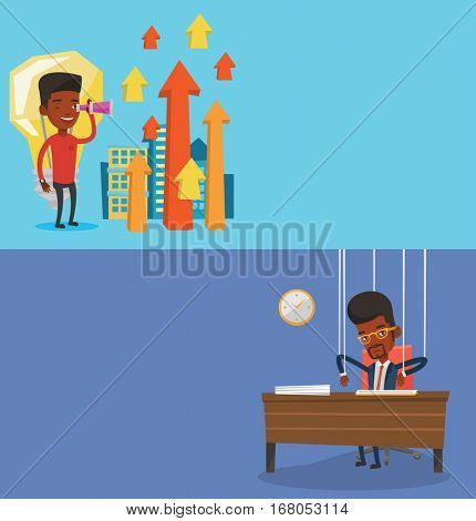 Two business banners with space for text. Vector flat design. Horizontal layout. Businessman marionette hanging on strings like a puppet. Businessman marionette on ropes sitting at the table in office