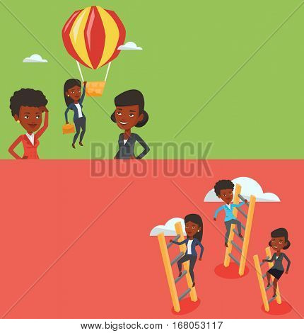 Two business banners with space for text. Vector flat design. Horizontal layout. African-american businesswomen climbing the ladders. Businesswomen climbing on cloud. Businesswomen climbing to success