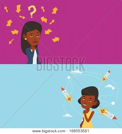 Two business banners with space for text. Vector flat design. Horizontal layout. Woman thinking under question mark and arrows. Thoughtful business woman with question mark. Business thinking concept.