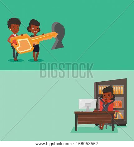 Two business banners with space for text. Vector flat design. Horizontal layout. Satisfied busineswosman sitting at workplace in the office. Relaxed business woman relaxing at workplace in office.
