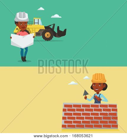 Two construction banners with space for text. Vector flat design. Horizontal layout. African engineer watching a blueprint. An engineer with engineer blueprint standing on a background of excavator.