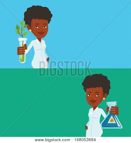 Two ecology banners with space for text. Vector flat design. Horizontal layout. Laboratory assistant holding a flask with biohazard sign. Scientist in medical gown showing a flask with biohazard sign.
