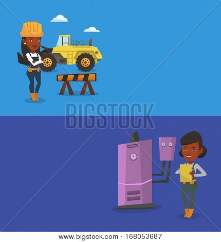 Two construction banners with space for text. Vector flat design. Horizontal layout. Young african-american plumber making some notes in clipboard. Plumber inspecting heating system in boiler room.