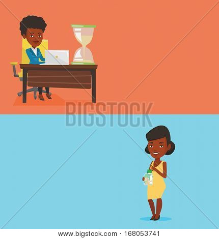 Two business banners with space for text. Vector flat design. Horizontal layout. Businesswoman sitting at the table with hourglass symbolizing deadline. Businesswoman coping with deadline successfully