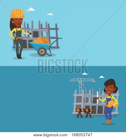 Two construction banners with space for text. Vector flat design. Horizontal layout. Engineer with a blueprint at construction site. Engineer holding blueprint. Engineer checking construction works.