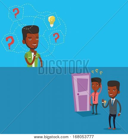 Two business banners with space for text. Vector flat design. Horizontal layout. Man having business idea. Businessman standing with question marks and idea bulb above his head. Business idea concept.