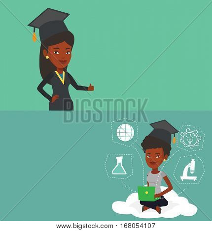 Two educational banners with space for text. Vector flat design. Horizontal layout. Graduate sitting on cloud with laptop. Graduate using cloud computing technologies. Educational technology concept.
