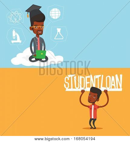 Two educational banners with space for text. Vector flat design. Horizontal layout. African-american man holding a sign of student loan. Disappointed young man carrying heavy sign - student loan.