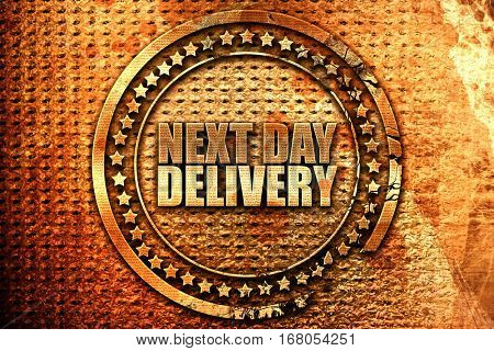 next day delivery, 3D rendering, grunge metal stamp
