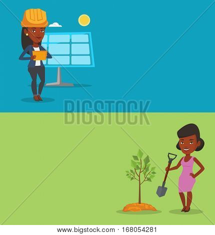 Two ecology banners with space for text. Vector flat design. Horizontal layout. Young african woman plants a tree. Woman standing with shovel near newly planted tree. Environmental protection concept.