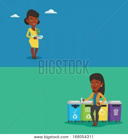Two ecology banners with space for text. Vector flat design. Horizontal layout. African woman throwing away garbage. Woman standing near four bins and throwing away garbage in an appropriate bin.
