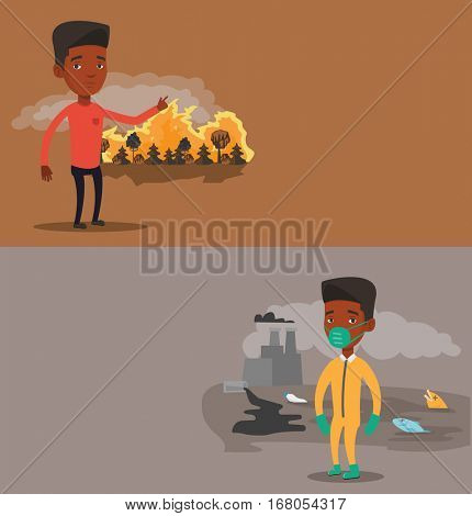 Two ecology banners with space for text. Vector flat design. Horizontal layout. African man standing on the background of forest fire. Man pointing at forest fire. Concept of environmental destruction