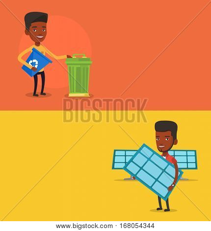 Two ecology banners with space for text. Vector flat design. Horizontal layout. Worker of solar power plant holding solar panel. African man with panel standing on the background of solar power plant.
