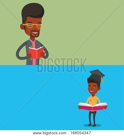 Two educational banners with space for text. Vector flat design. Horizontal layout. Student reading a book. African student reading a book and preparing for exam. Student holding a book in hands.