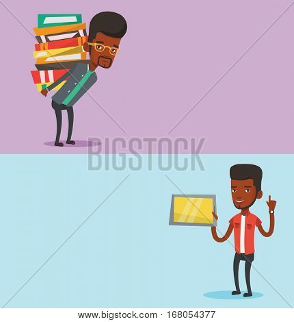 Two educational banners with space for text. Vector flat design. Horizontal layout. Student using tablet computer. Student holding tablet computer and pointing finger up. Education technology concept.