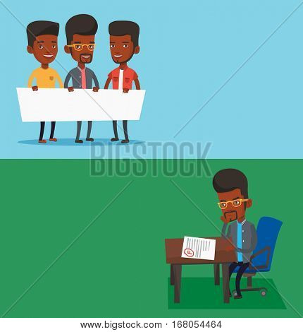 Two educational banners with space for text. Vector flat design. Horizontal layout. African men holding white blank board. Group of students holding an empty board. Young friends showing white board.