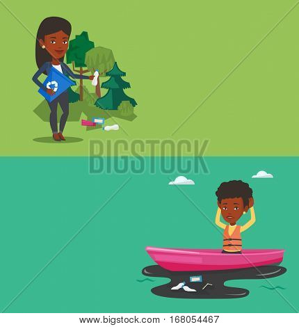 Two ecology banners with space for text. Vector flat design. Horizontal layout. Woman with recycling bin in hand picking up used plastic bottles. Young african woman collecting garbage in recycle bin.