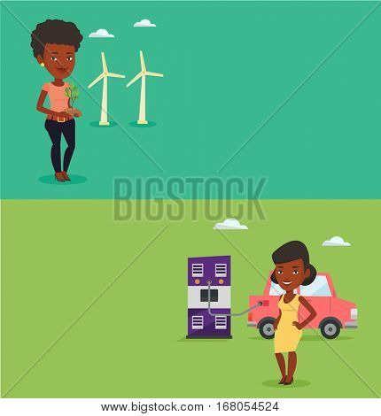 Two ecology banners with space for text. Vector flat design. Horizontal layout. African-american woman charging electric car at charging station. Woman standing near power supply for electric car.