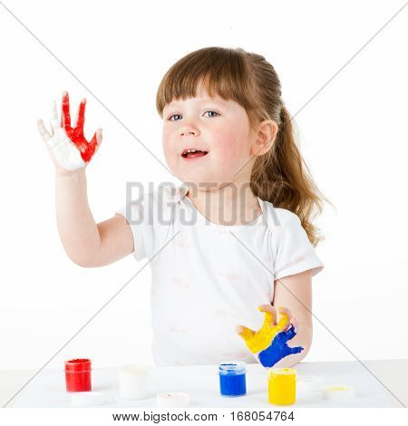 Portrait of a cute cheerful girl with painted hands, isolated over white. euro 2012