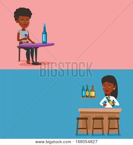 Two drinks banners with space for text. Vector flat design. Horizontal layout. Bartender standing at the bar counter. Bartender with bottle and glass in hands. African-american bartender at work.