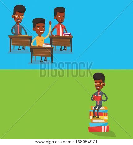 Two educational banners with space for text. Vector flat design. Horizontal layout. Student raising hand for an answer. Student sitting at the desk with raised hand. Student raising hand at lesson.