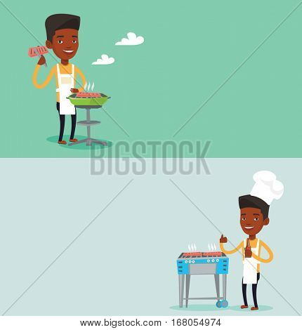 Two food banners with space for text. Vector flat design. Horizontal layout. African-american man cooking steak on barbecue grill. Man preparing steak on barbecue grill. Man having outdoor barbecue.