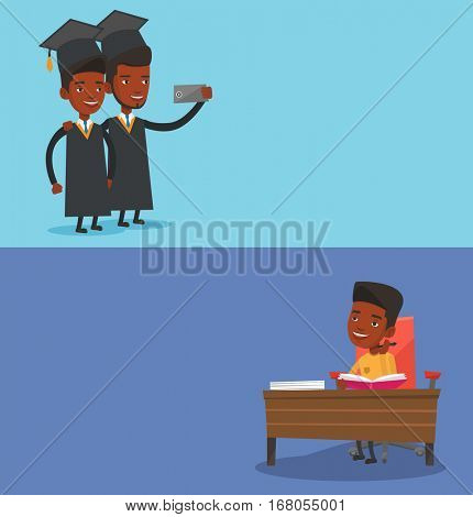 Two educational banners with space for text. Vector flat design. Horizontal layout. Cheerful graduates in cloaks and graduation caps making selfie. African graduates making selfie with cellphone.