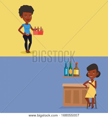 Two drinks banners with space for text. Vector flat design. Horizontal layout. Woman sitting at the bar counter. Woman sitting with glass in bar. African woman celebrating with an alcohol drink in bar