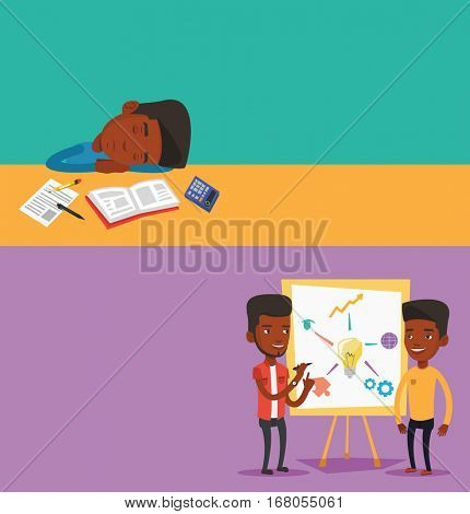 Two educational banners with space for text. Vector flat design. Horizontal layout. Two african students discussing a project. Students working on a project. Student drawing a project on a board.