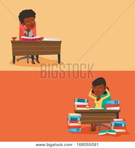 Two educational banners with space for text. Vector flat design. Horizontal layout. Student sitting at table and thinking. Thoughtful student writing in exercise book. Thoughtful girl doing homework.